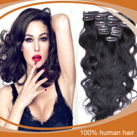 Cheap human hair clip in hair extension for african american wavy clip in hair extensions