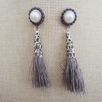 Fashion Womens Pearl Rhinestone Rainbow Tassels