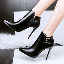 2017 latest design women boots shoes ladies sexy high heel ankle boots