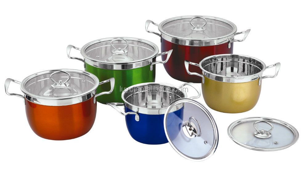 22cm stainless steel colorful deep multi soup pot for sale