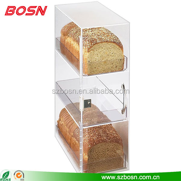 Three component clear acrylic bread display cabinet plexiglass food showcase