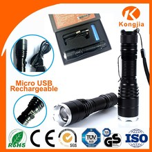 XML T6 Led Aluminium Ultra Bright Rechargeable Zoomable Flashlight Torch Multifunction Torchlight