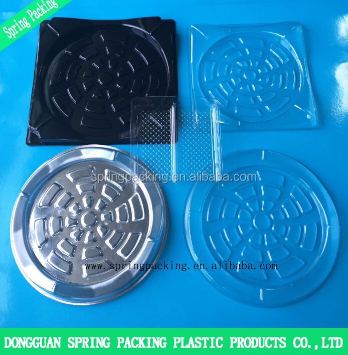 Custom APET PP PS silver black transparent white plastic frozen food tray packaging insert for cake sushi pastry box