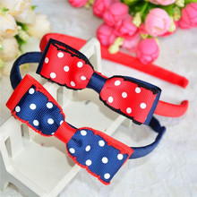 Fashion decorative baby hair accessories girls crochet spots bowknot hair band hair hoops