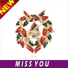 Europe and selling high-end quanlity christmas bells wreath alloy brooch for children