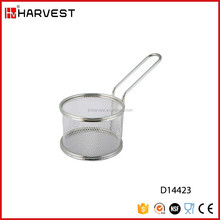 Stainless Steel Round Fry Baskets Strainer Serving Food Cooking Tool Wire Mesh Frying Basket with handle