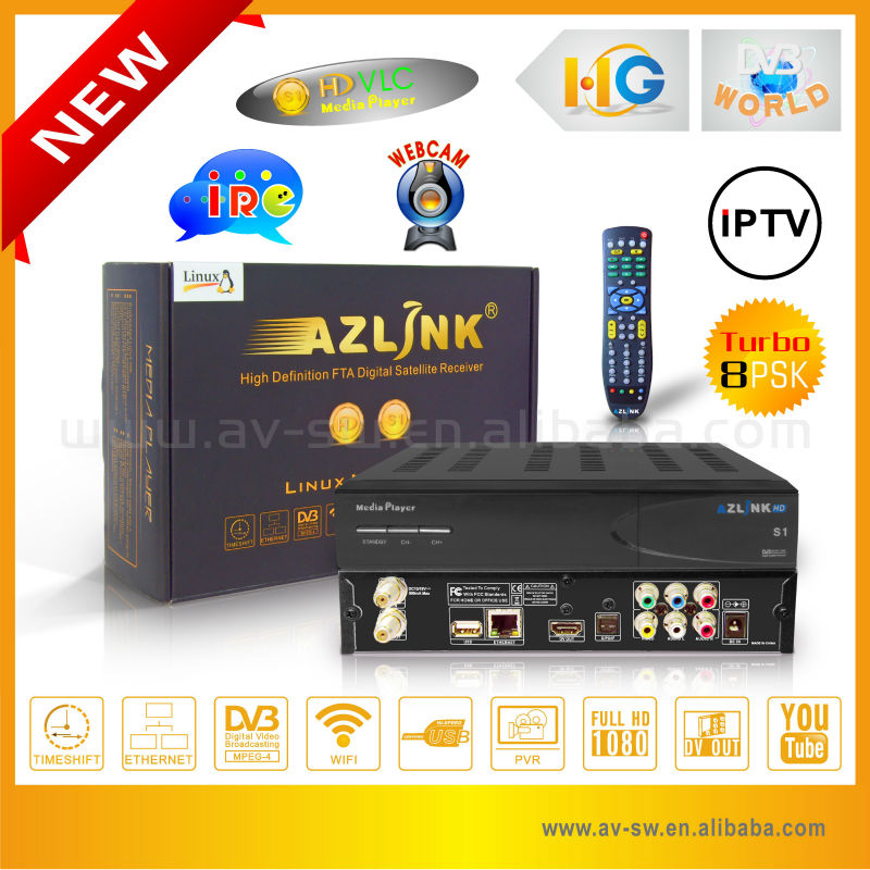 Factory Original AZLINK S1 Satellite Receiver Twin Tuner DVB-S2 and LS5000 8PSK Tuner Support wifi and PVR LINUX IPTV Receiver