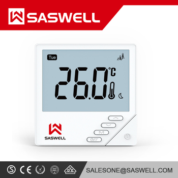 SASWELL New Generation Flush Mount Touch Key CE ROHS Remote Square Programmable weekly 7 days Thermostat for water Floor Heating