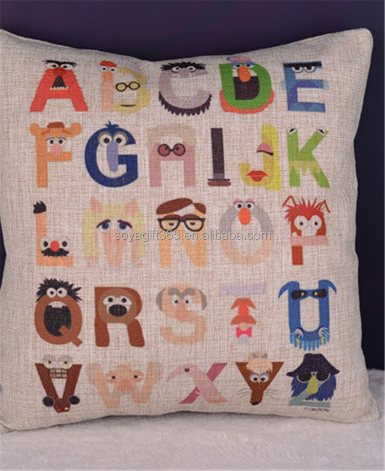 Decorative Cotton Linen Cartoon Alphabet Print Throw Pillow Cases