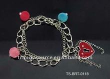 Newest lovely colorful candy beads heart bracelet
