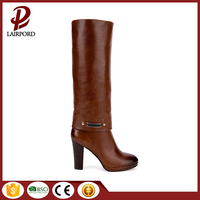 2016 New arrival elegant women sheos fashionable knee high wood heel brown leather long boots