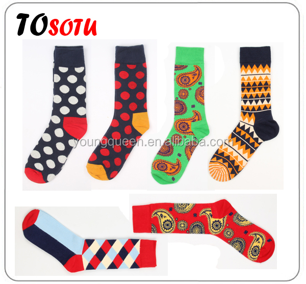 HW236 happy socks Men geometry hit color cotton socks wholesale