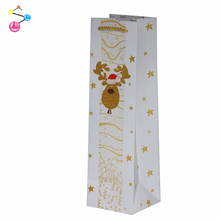 Wholesale holiday white wine bottle gift bags paper wine carrier bag