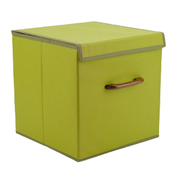 New Design Wood Handles Foldable Fabric Storage Box Cube , Home Decorative Organizer Cube Box