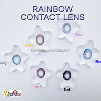wholesale yearly used color lenses rainbow soft contact lenses