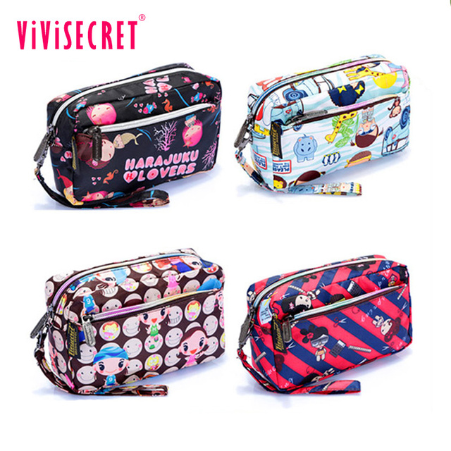 Vivisecret custom printed cosmetic case cheap wholesale makeup bags with holder