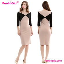 Wholesale Half Sleeves 2016 Fashion Elegant New Bodycon Pictures Office Dress For Ladies