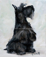 Long black beard hairy tall and slim pet dog 100%handmade classic decoration oil painting in canvas