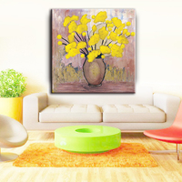 Classic-maxim handmade yellow canvas flower oil painting