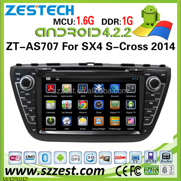 ZESTECH wholesale pure android 4.2.2 car dvd gps navigation for Suzuki SX4 S-Cross android car dvd with radio WiFi bluetooth 3g