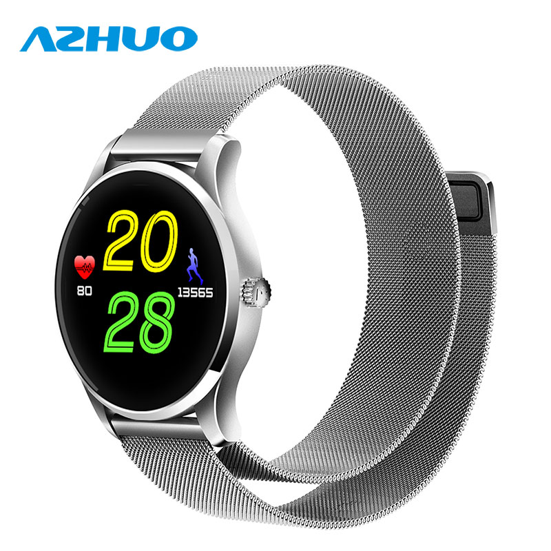New Fashion K88 Smart Watch Milanese Watch Strap 1.22 IPS Round Screen Heart Rate Monitor Bluetooth 4.0 Smartwatch