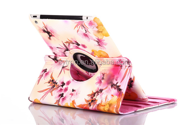 Customized printing colorful rotatable leather tablet pc carrying cases for ipad air