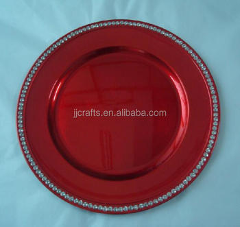 Christmas party tableware beaded plastic dish, Crystal Charger Plate,plastic plate