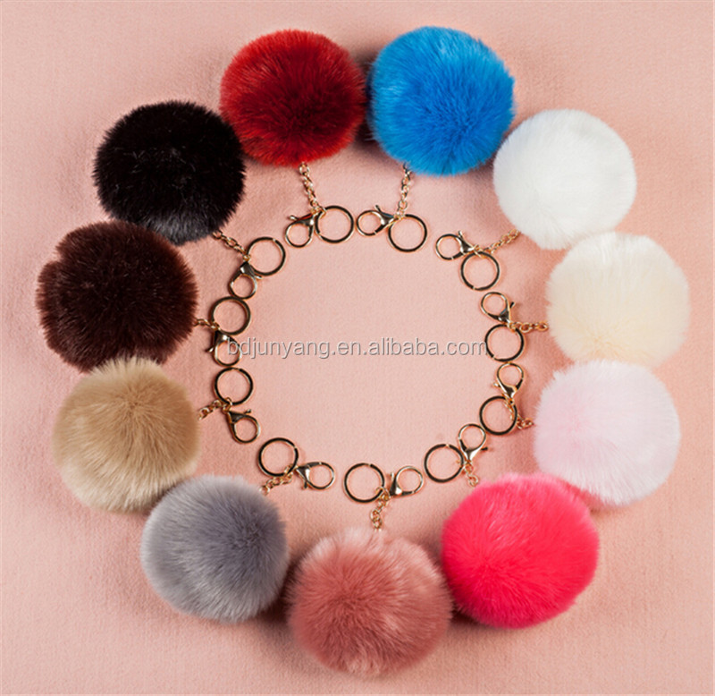 Chinese fake rabbit fur pom pom key ring