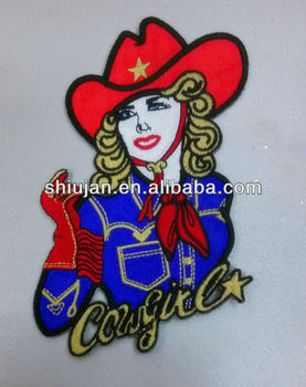 cowgirl applique embroidery design patch/applique embroidery motif