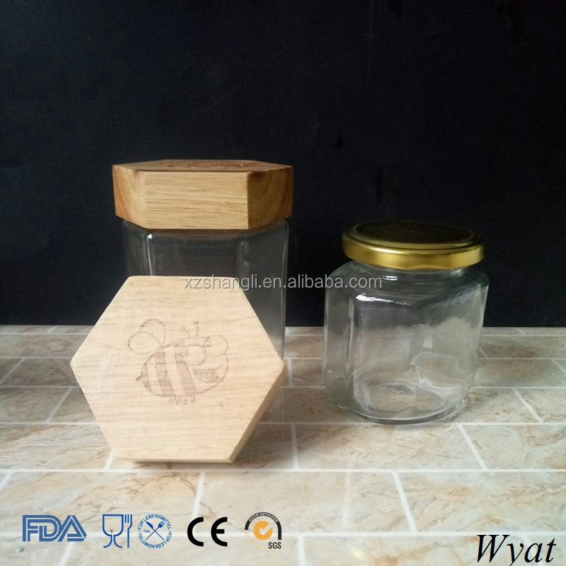 Cheap Empty 10oz 300ml Hexagon Honey Jar with Wooden Lids
