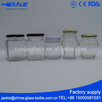 RJ Ce Certified Heat-resistant Mini Square Empty Shaped Small Glass Jar With Lid For Plastic Metal Mason Ring Seal