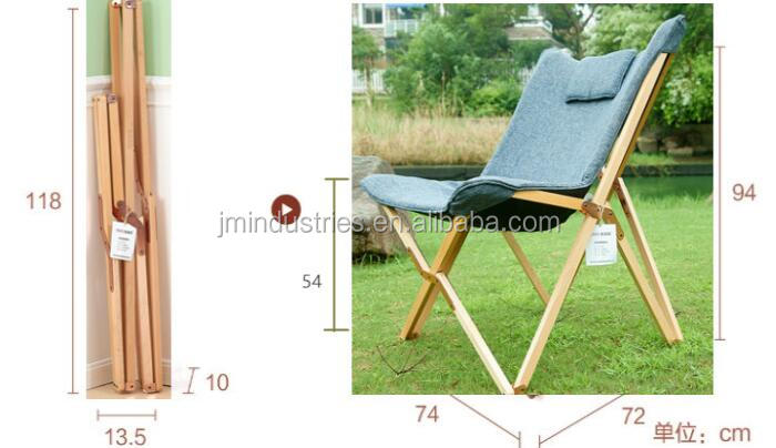 Outdoor Portable Beech Wood Folding Camping Chair Folding Butterfly Chair