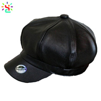 Men Faux Leather Octagonal cap Baker boy Cap Gatsby Newsboy Driving Cabbie Hat pu leather top hat
