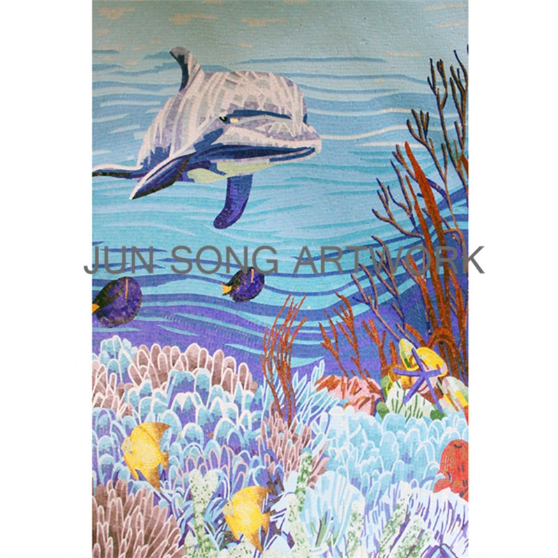 MAM-FS01-B Foshan Glass Mosaic Art Famous Fish Painting Mosaic Design Blue Mosaic Backsplash