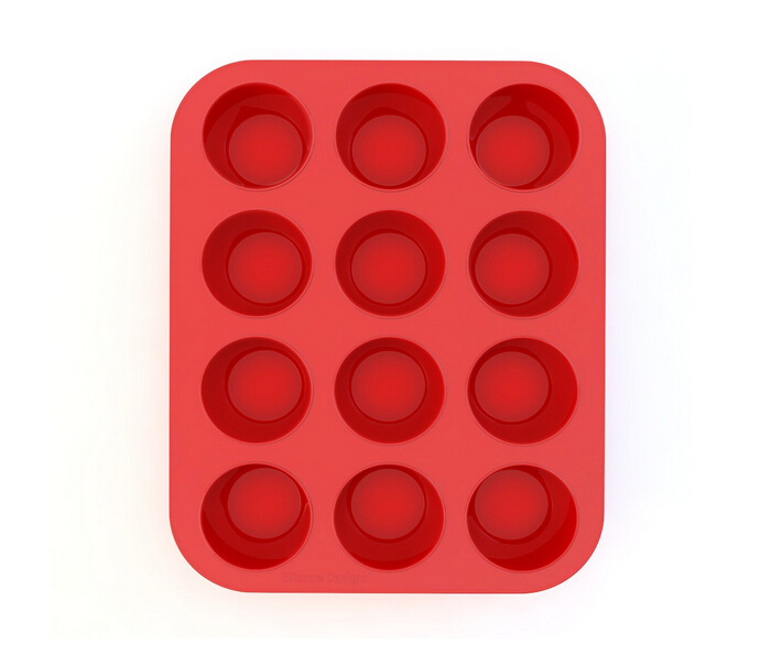 Silicone Muffin Pan and Cupcake Maker 12 Cup Red Silicone Muffin Pan