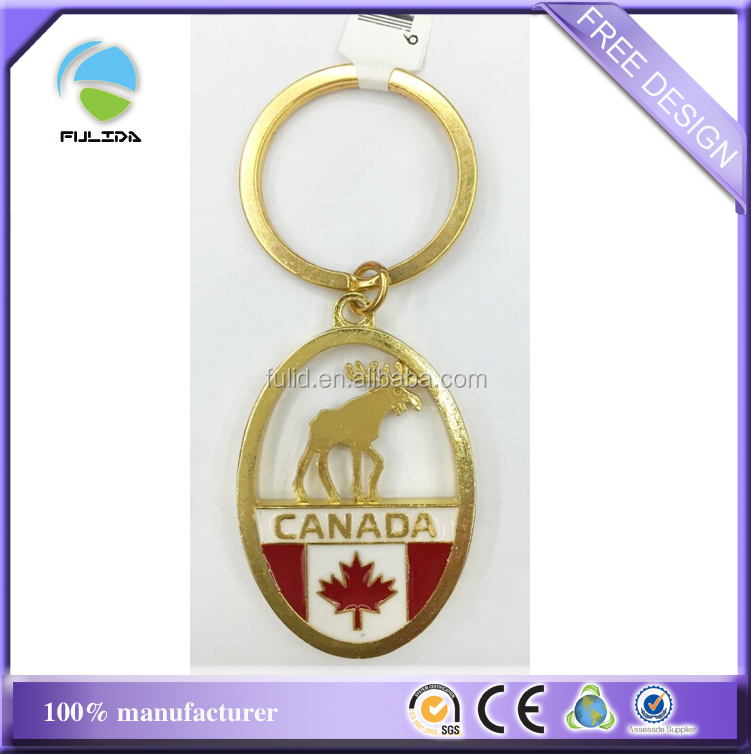 Custom Oval Metal Tourism Deer Canada Souvenir Gold Keychains