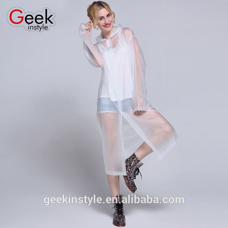 4 Colors Transparent pe rain poncho/raincoat manufacturer Disposable EVA Plastic pvc fashion rainwear