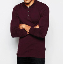 New Design Hign Quality 100% Cotton Long Sleeve Burgundy Polo Shirt,Can Be Printed Logo
