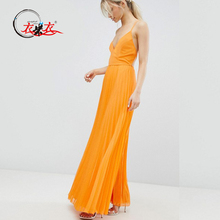 New Design Chiffon Cami Pleated Maxi Dress with Strappy Back