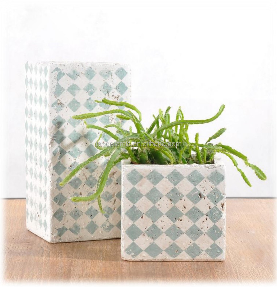 Wholesale garden decoration natural style antique immitation and decal concret flower planter