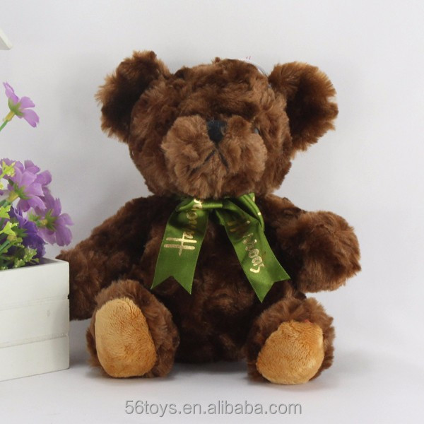 Dark Brown valentine green ribbon washable plush teddy bear