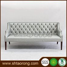 Modern wood silver leather sofa for living room