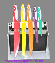 colourful teflon non-stick knife set with acrylic block