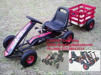 toy pedal go kart with trailer