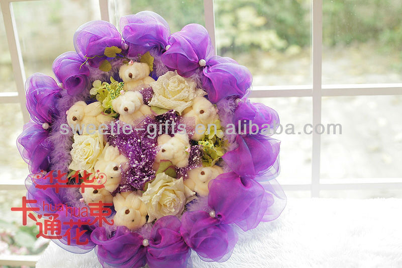 bear artificial flowers for christmas gifts