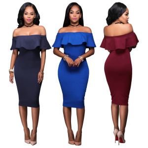 F20686A European fashion dress women off shoulder ruffles neck bodycon dress for ladies