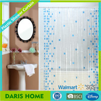 Small diamonds design shower curtain, 100% PVC plastic transparent shower curtain
