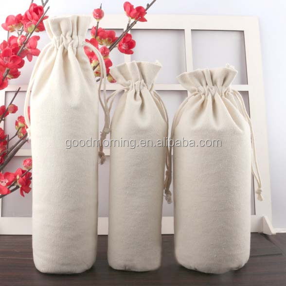 Personalized monogram blank canvas wine drawstring bags