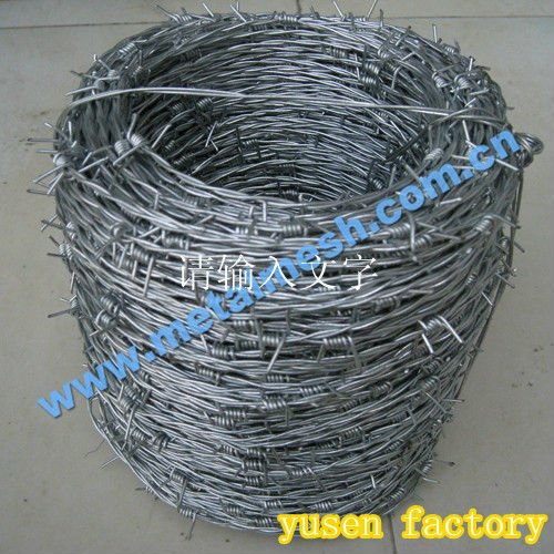 ISO9001 barbed wire hebei yusen manufacturer