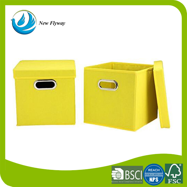 Home Living Room Non woven Fabric Small Collapsible Kids Toy ,Clothes, Storage Box Cube with Lids, Yellow, 2-Pack With Cardboard